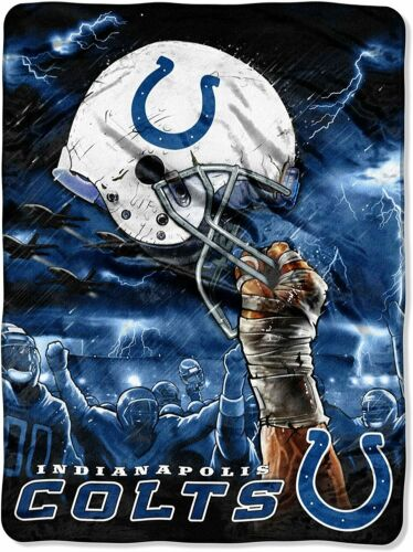INDIANAPOLIS COLTS NFL FOOTBALL SUPERSOFT PLUSH RASCHEL THROW BLANKET 60x80 in