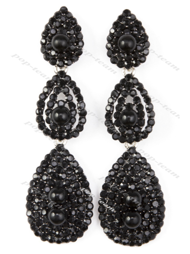 Black Drop Dangle Earrings