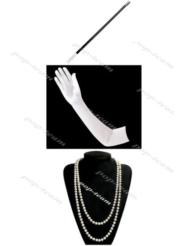 White Gloves+Necklace+Holder