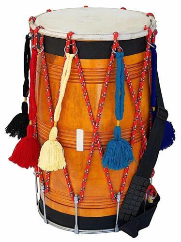 % OFF SALE Punjabi Bhangra Dhol Musical Instrument Mango Wood Natural Barrel