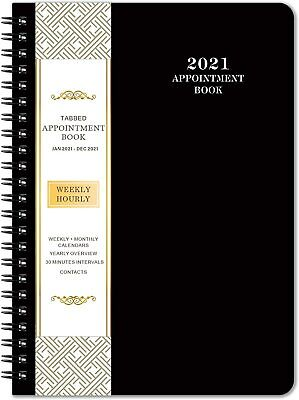 "2021 Daily Appointment Book & Planner ,Daily/Hourly Planner, 6.4"" x 8.5"", Black"