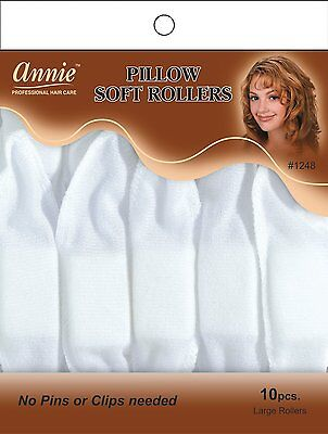 """Used, Annie Pillow Soft Rollers Hair Wave Curlers Sleep White 1 1/2""""D 10CT Large #1248 for sale  Houston"""