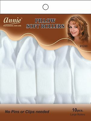 "Annie Pillow Soft Rollers Hair Wave Curlers Sleep White 1 1/2""D 10CT Large #1248"