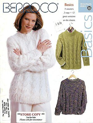 Berroco Knitting Pattern Booklet #185 Basics 4 Sweaters 3 Ways = 12 - Easy Knit!
