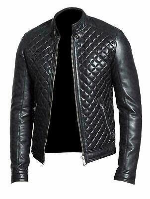 New Quilted Leather Jacket Men Boy Stylish Black Genuine Sheepskin Trendy Biker