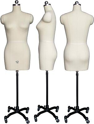 Female Sewing Dress Form Mannequin Pinnable W Magnetic Shoulders Base Size 12