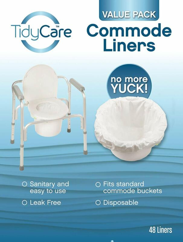 TidyCare Commode Liners Disposable Bedside Commode Liners 48