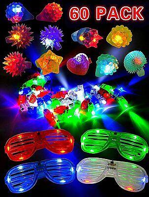 60 Pieces LED Light Up Toy Party Favor Pack - Finger Lights,Rings & Glasses - Led Finger Light
