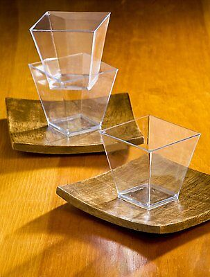Elegant Square Mini 2oz Clear Tasting Sample Shot Glasses 100 Ct Dessert cups  - Elegant Plastic Cups