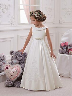 UK Wedding Party Flower Girl Dress Holy Communion Party Princess Pageant Gown