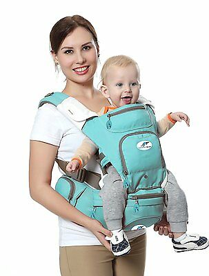 Multifunctional Ergonomic Baby Carrier 8-in-1 Hip Seat & Kangaroo, Light Green