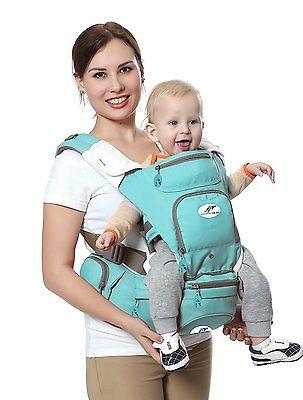 Multifunctional Ergonomic Baby Carrier 8-in-1 Hip Seat & Kangaroo, Light Green