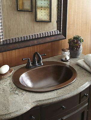 - Rustic Bathroom Sink Copper Drop In Bath Oval Basin Vanity 4 Inch Faucet Holes