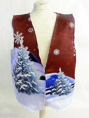 Weihnachten Weste (Frohe Weihnachten Weste rot Santa's Schlitten Kostüm Neuheit Geschenkidee Party)
