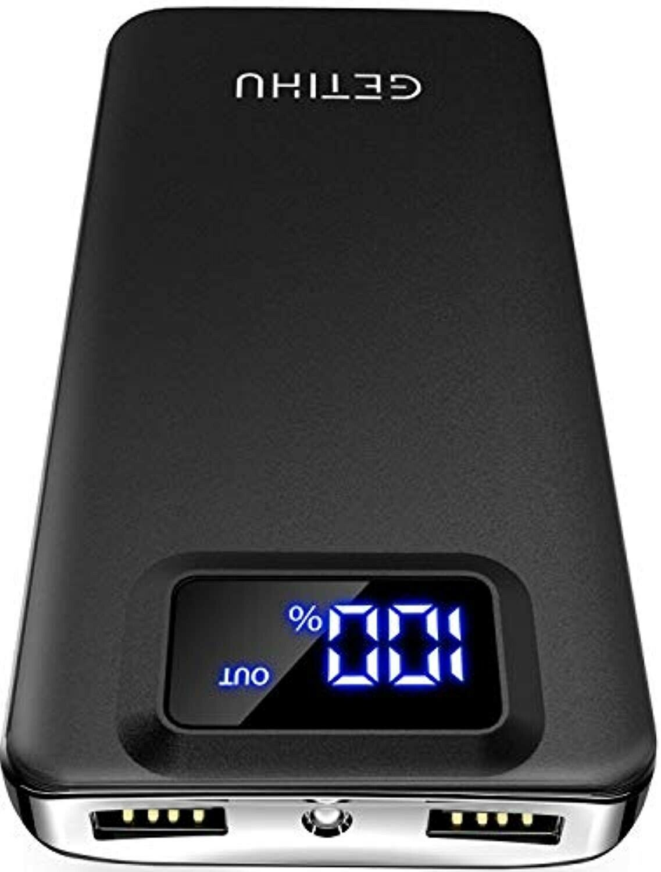 Portable Power Bank LED Display 10000mAh with 2 USB Ports an