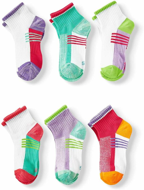 Girls Athletic Socks Size 10 1/2-4, 6 pair
