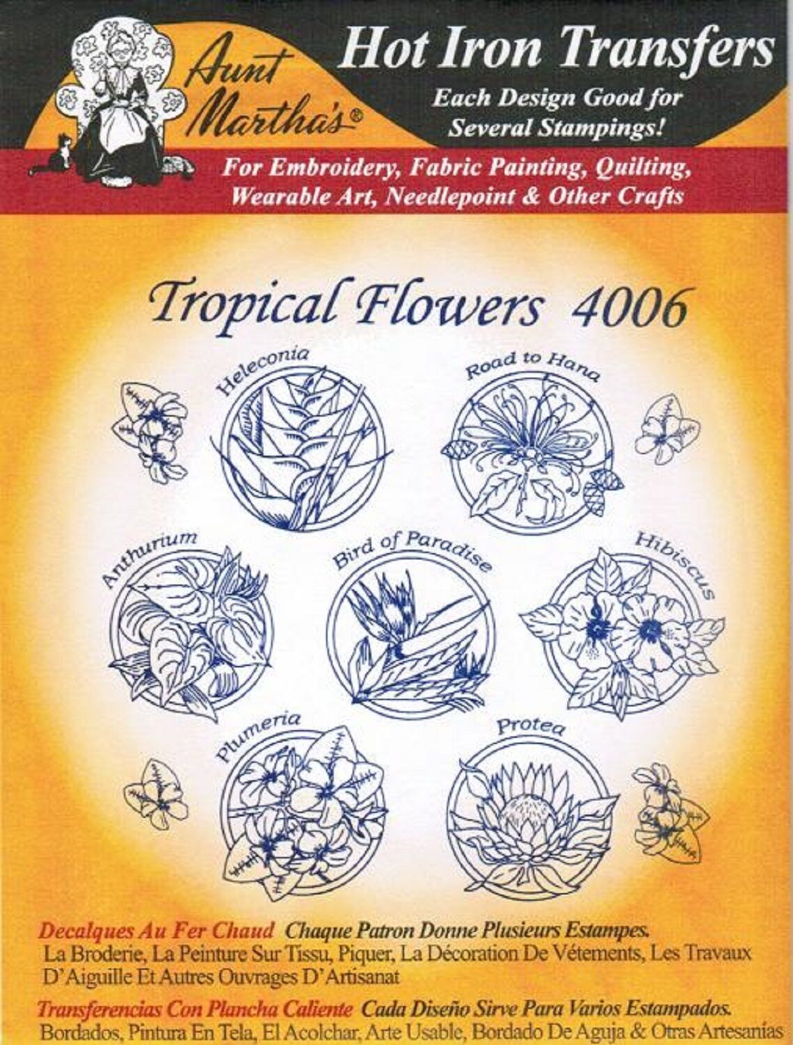 Tropical flowers aunt martha s hot iron embroidery