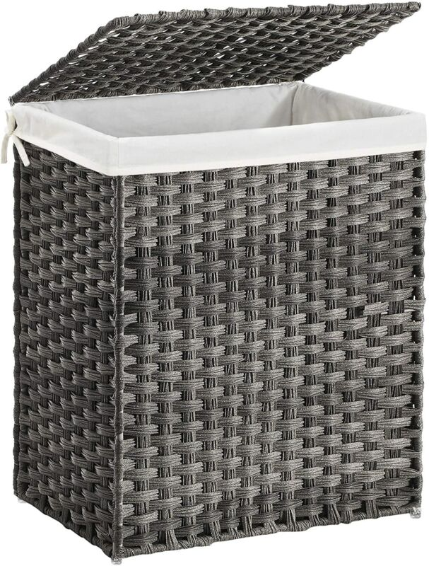 SONGMICS Handwoven Laundry Basket, 90L Synthetic Rattan Wicker Clothes Hamper wi