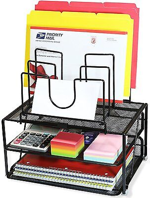 Desk Organizer Tray Shelf Sorter Storage File Folder Letter Rack Office Supplies
