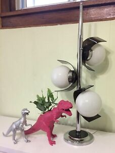 MCM Vintage Chrome and Lucite Lamp
