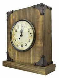 Lulu Decor, Rustic Wood Tabletop Clock, with Iron Corners (New Model)