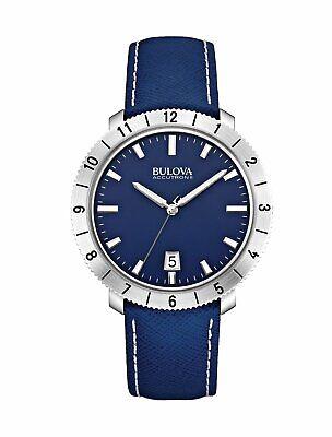 Bulova Men's Accutron II Moonview Quartz Blue Leather Strap 42mm Watch 96B204