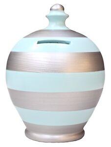 Terramundi Money Pot Baby Blue And Silver Stripes Money Pot Stripey Gift D43