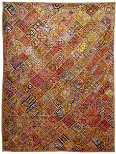 236x180 cm antik orient patchwork teppich wandbehang bettdecke bedcover kutch 10 ebay. Black Bedroom Furniture Sets. Home Design Ideas