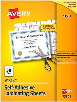 Avery Self-adhesive Laminating Sheets 9 X 12 Permanent Adhesive 50 Sheet