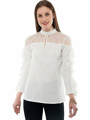 Indian Fashion Women's Crepe Net Off-White Casual Official Top For Girls S-7XL - Off White Dresses For Girls