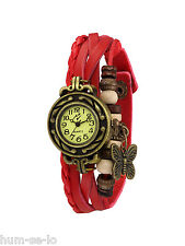VINTAGE RETRO BEADED BRACELET LEATHER WOMEN WRIST WATCH -ROUND RED