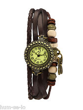 SMALL DIAL VINTAGE BRACELET WATCH FOR WOMEN WITH BUTTERFLY PENDANT--BROWN