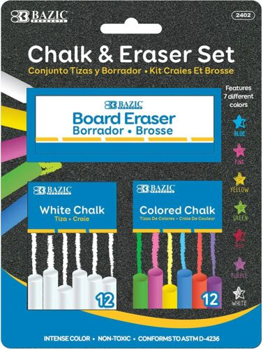 BAZIC 12 Color & 12 White Chalk with Eraser Set - School, Crafts, Art, Outside