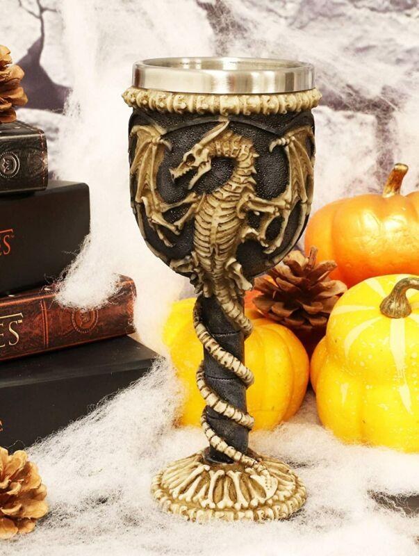 Ebros Gift Medieval Flying Dragon Skeleton Fossil Ossuary Goblet Wine Chalice