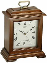 Seiko QXJ102BC Mantel Chime Carriage Clock Cherry Finish Solid Wood Case