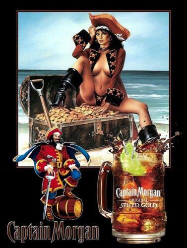 "Classic Captain Morgan Spiced Gold Retro Tin Metal Sign 8"" x 12"" Beer Cafe Sign"