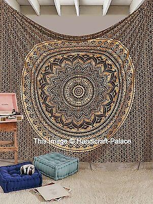 Indian Gold Ombre Mandala Tapisserie Hippie Königin Wand Hängen Bettdecke Werfen - Baumwolle Indian Werfen