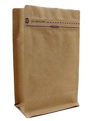 Kraft Paper Stand Up Zipper Coffee Bags With Flat Bottom Pouches With Valve -