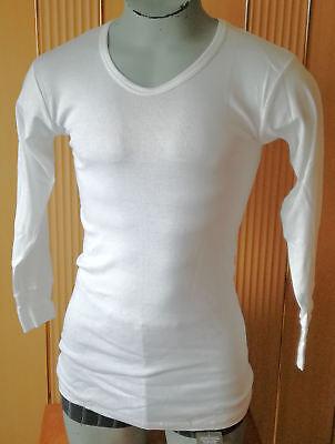 Unterhemd Herren langer Arm Langarm V-Neck Baumwolle aus SACHSEN weiß schön lang - Herren-langer Arm