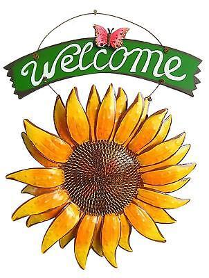 Hanging Metal Sunflower Butterfly Welcome Sign Sunflower Wall Decor Door Wreath