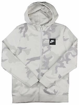 Youth Nike Camouflage Full Zip Hoodie Grey Gray White AQ5772 072 Jacket Camo (Youth Full Zip Hoodie)