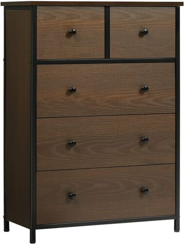 5 Drawers Wood Chest Dresser Storage Tower Clothes Organizer Cabinet For Bedroom