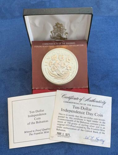 1975 Bahamas Ten Dollar Independence Day Proof Silver Coin w/COA - Free Ship US