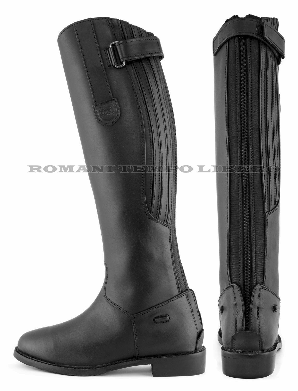 Stivali da equitazione in pelle con cerniera posteriore elasticizzata