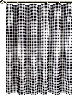 Gingham Shower Curtain (Farmhouse Gingham Checkered Fabric Shower Curtain 72x72 Black Gray)