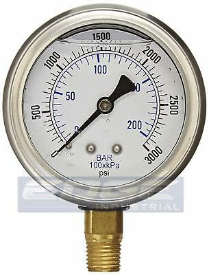 Liquid Filled Gauge Pressure Washer 2.5 Face 0-3000 Lower Mnt 14 201l-254p