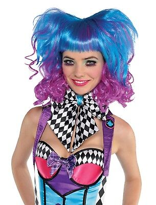 Ladies Bright Crazy Blue Purple Pink Mad Hatter Book Day Fancy Dress Costume Wig - Crazy Purple Wig