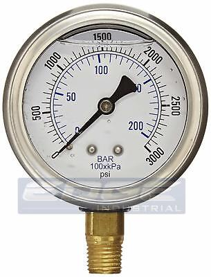 Liquid Filled Pressure Gauge 0-3000 Psi 2.5 Face 14 Npt Lower Mount Wog