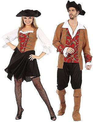Classy Mens Halloween Costumes (Couples Ladies AND Mens Red Posh Pirate Halloween Fancy Dress Costumes)