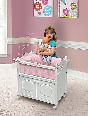 Baby Wooden Doll Crib Girl Play Bedding Mobile Cradle Sturdy Bedding Pink White